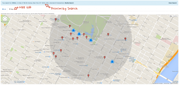 Proximity Search and Map Tab
