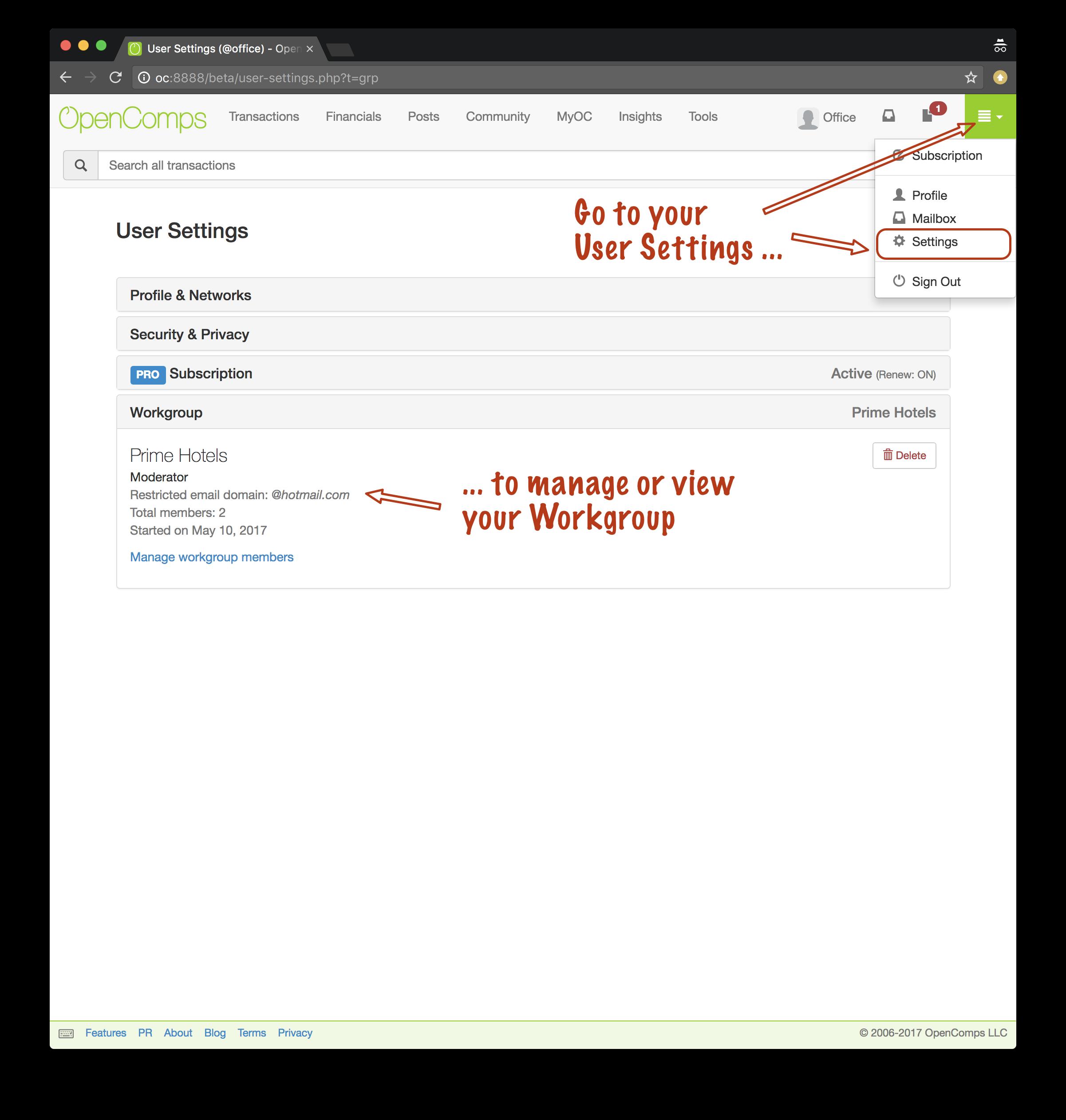 User Settings screen