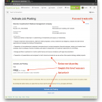 Activate job posting screen