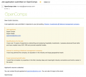 Email job application